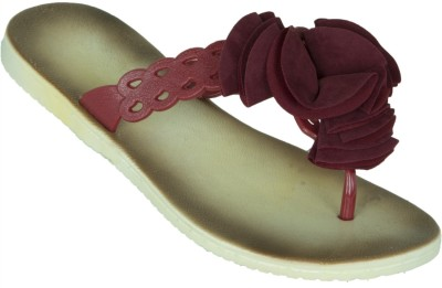 Zovi Zovi Beige Sandals With Maroon Floral Brooch On Straps Flats (Beige\/Sand\/Tan)