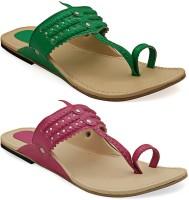 Paduki Women Green, Pink Flats Green, Pink