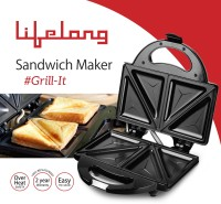 Lifelong Sandwich Maker (116 Triangle Plate) Toast, Grill (Black, Stainless Steel)