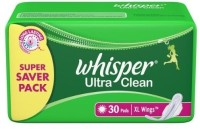 Whisper Ultra Clean Wings XL-30 Sanitary Pad (Pack Of 30)