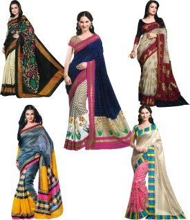 Parchayee Printed Bhagalpuri Cotton Slub Sari Pack Of 5