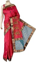 Indusdiva Solid Embroidered Embellished Art Silk Sari