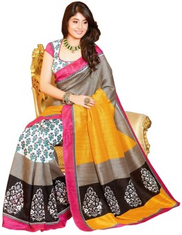 Sarovar Sarees Printed Bhagalpuri Art Silk Sari