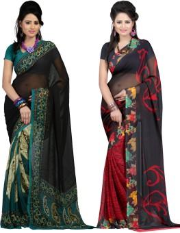Bunny Sarees Printed Fashion Georgette Sari Pack Of 2