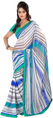 Fabdeal Fabdeal Striped Fashion Chiffon Sari (Multicolor)