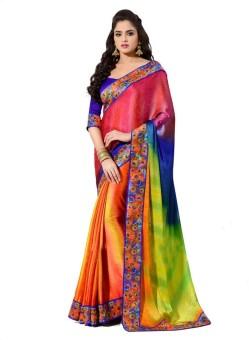 Anwesha Sarees Printed Fashion Crepe, Jacquard Sari