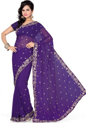Saree Swarg Self Design Embroidered Embellished Chiffon Sari