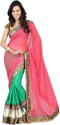Saree India Embriodered Fashion Pure Chiffon Sari