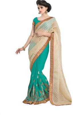 Sonal Saree Embriodered Bollywood Brasso Sari available at Flipkart for Rs.2825