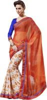 Triveni Floral Print Chiffon, Satin Sari