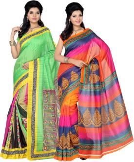 Ishin Printed Fashion Silk Sari Pack Of 2