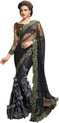 Elijaah Elijaah Self Design Fashion Chiffon Sari (Multicolor)