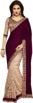 Kuki Fashion Embriodered Bollywood Velvet Sari Brown
