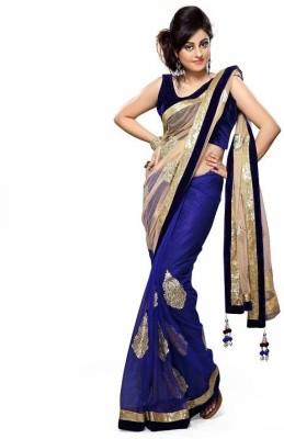 Kia Fashions Sarees Embriodered Fashion Net, Velvet Sari
