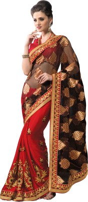 MS Retail Self Design Fashion Net, Chiffon, Brasso Sari