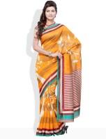 Urban Vastra Striped, Floral Print Synthetic Sari