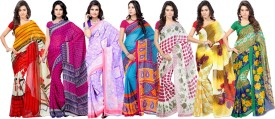 Ambaji Printed, Floral Print, Polka Print Daily Wear Georgette Sari Pack Of 7