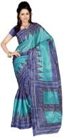 Ambaji Geometric Print Art Silk Sari