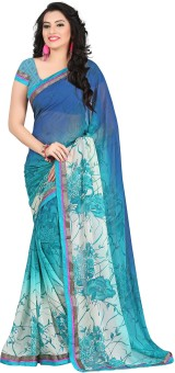 Fashion Designer Sarees Floral Print Daily Wear Georgette Sari