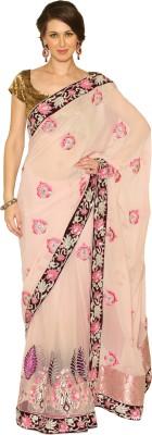 Fashion Senses Self Design Fashion Georgette, Net Sari (Multicolor)
