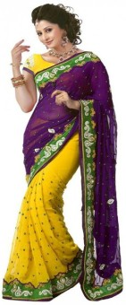 Usha Silk Mills Self Design Bollywood Pure Georgette Sari
