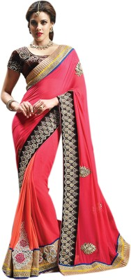 Elijaah Elijaah Self Design Fashion Chiffon Sari (Multicolor)