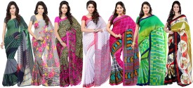 Ambaji Printed, Floral Print, Geometric Print Daily Wear Georgette Sari Pack Of 7