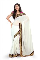 Chirag Sarees Self Design Embroidered Embellished Chiffon Sari