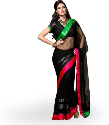 Rangoli Rangoli Self Design Fashion Net Sari (Black)