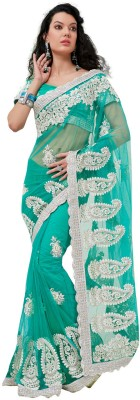 Fabdeal Printed Embroidered Embellished Net Sari available at Flipkart for Rs.7999