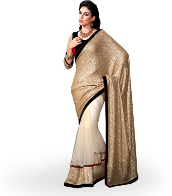 Rangoli Rangoli Self Design Bollywood Net Sari (Yellow)