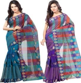 Sanju Sarees Embellished Banarasi Banarasi Silk Sari Pack Of 2