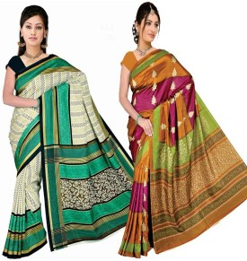 Zuri Printed Daily Wear Art Silk Sari Pack Of 2