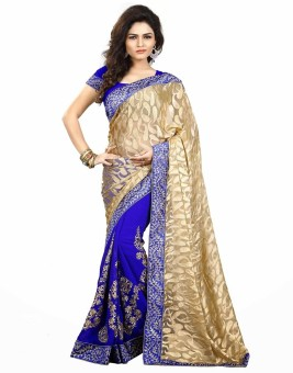 HI-Fashion Embroidered Embroidered Embellished Brasso Sari