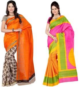 Muta Fashions Printed Bhagalpuri Art Silk Sari Pack Of 2