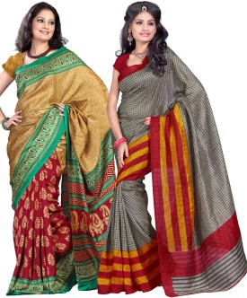 Combo Deals Printed, Checkered Fashion Silk Sari (Pack Of 2)