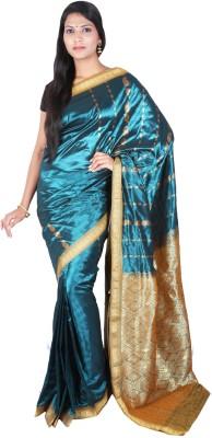 Sri Radha Krishna Textiles Floral Print Fashion Silk Sari (Green)