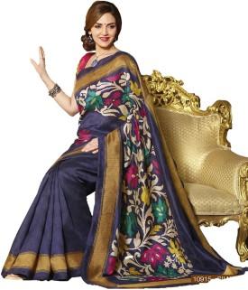 Punam Fashion Floral Print Venkatagiri Poly Silk Sari