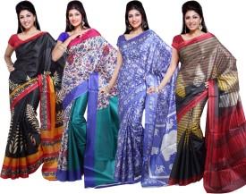 Ishin Solid Fashion Art Silk Sari (Pack Of 4)