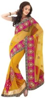 Fashionista Printed Embellished Georgette, Net Sari
