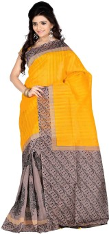 Roopkala Silks Solid Fashion Poly Silk Sari Mustard