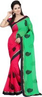 Bunny Sarees Solid Embroidered Embellished Georgette Sari - SAREFER25UJEUC7W