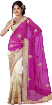 Preeti Solid, Self Design Bollywood Machine Georgette, Net Sari