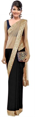 Fabulous Self Design Fashion Net Sari (Black)