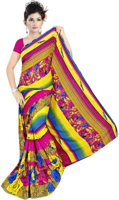Art Silk Nj Fabric Printed Fashion Art Silk Sari (Multicolor)