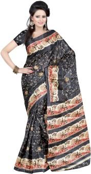 Kajal Sarees Floral Print Embellished Silk Sari