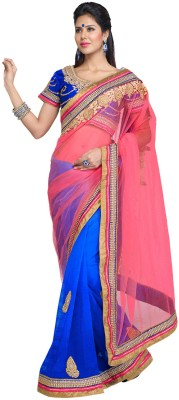 Fabdeal Solid Embroidered Embellished Net Sari available at Flipkart for Rs.8199
