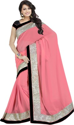 Nj Fabric Solid Bollywood Georgette Sari (Multicolor)