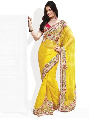 Fabdeal Printed Embroidered Net Sari available at Flipkart for Rs.8240