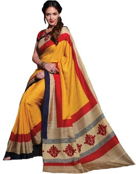 Roop Kashish Printed Bhagalpuri Dupion Silk, Art Silk, Poly Silk, Printed Silk Sari